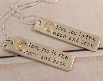 Love you to the moon and back charm necklace with brass moon - hand stamped