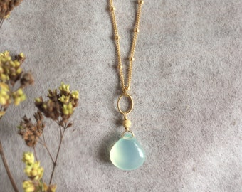 Aqua Chalcedony Necklace, Gold Chalcedony Necklace, Gold Filled Jewelry, Aqua Bridal Necklace, Blue Chalcedony Necklace, Chalcedony Pendant