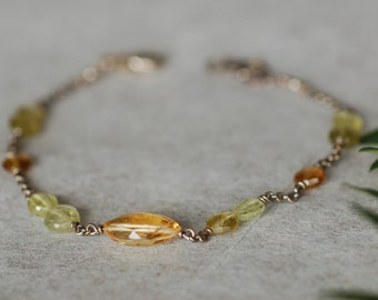 Citrine Bracelet for Women, Citrine and Garnet Bracelet, Gemstone Bracelet, Birthstone Jewelry, Handmade Jewelry