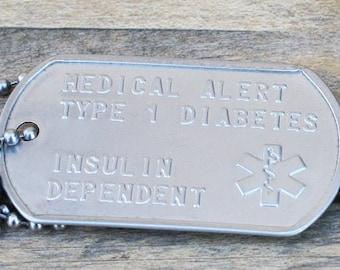 Medical Alert Dog Tag, Medical ID, Emergency Medical ID, Medical Alert Necklace, Medical Alert Jewelry, Dog Tag Necklace, Diabetes Awareness