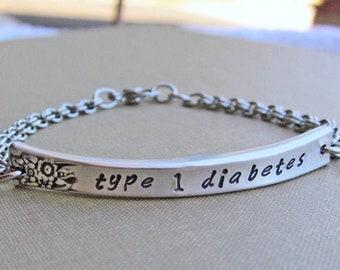 Medical Alert ID Bracelet, Vintage Silverware Jewelry, Medical ID, ID Bracelet, Medical Jewelry, Type 1 Diabetes Jewelry, Diabetes Bracelet