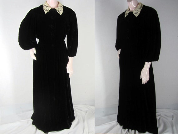 Vintage 40s Black Velvet Goth Dress Dressing Gown