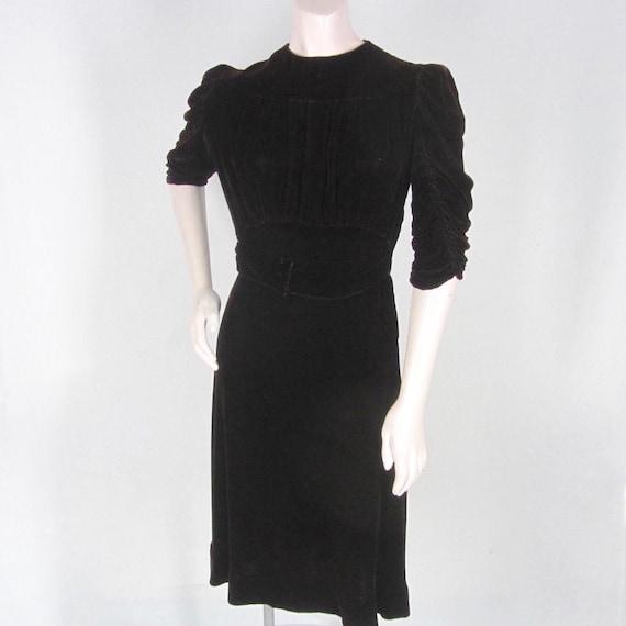 1930s Brown Velvet Dress Shirred Details Back Butt