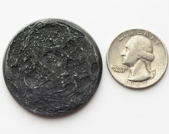 "Black Iron Large Super New Moon Coin - 1.5"" Blackened Iron"