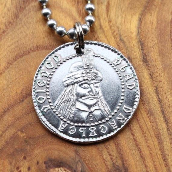 Gebohrt Silber Vlad Tepes Dracula Münze 999 Silber Vlad Der Pfähler Halskette