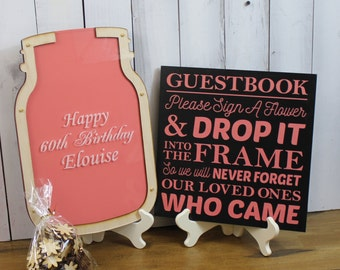 Happy Birthday/Top Drop Frame/Mason Jar/Guest Book/Unique/Alternative/Party/Birthday/Retirement/Guest Book Set/Sign/Pens/Fast Shipping