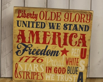 4th of July Subway Style Sign/Americana Sign/Holiday Decor/Tan/Red/White/Blue/4th of July Decor/Wood Sign/Patriotic