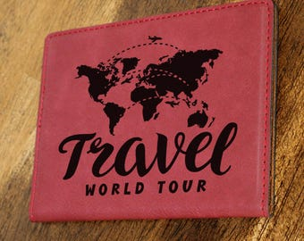 Passport Holder/Passport Cover/Travel/World Tour/Plane/Map/Leatherette//Engraved/Color Choices