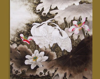 original painting chinese traditional art lotus with three agrets