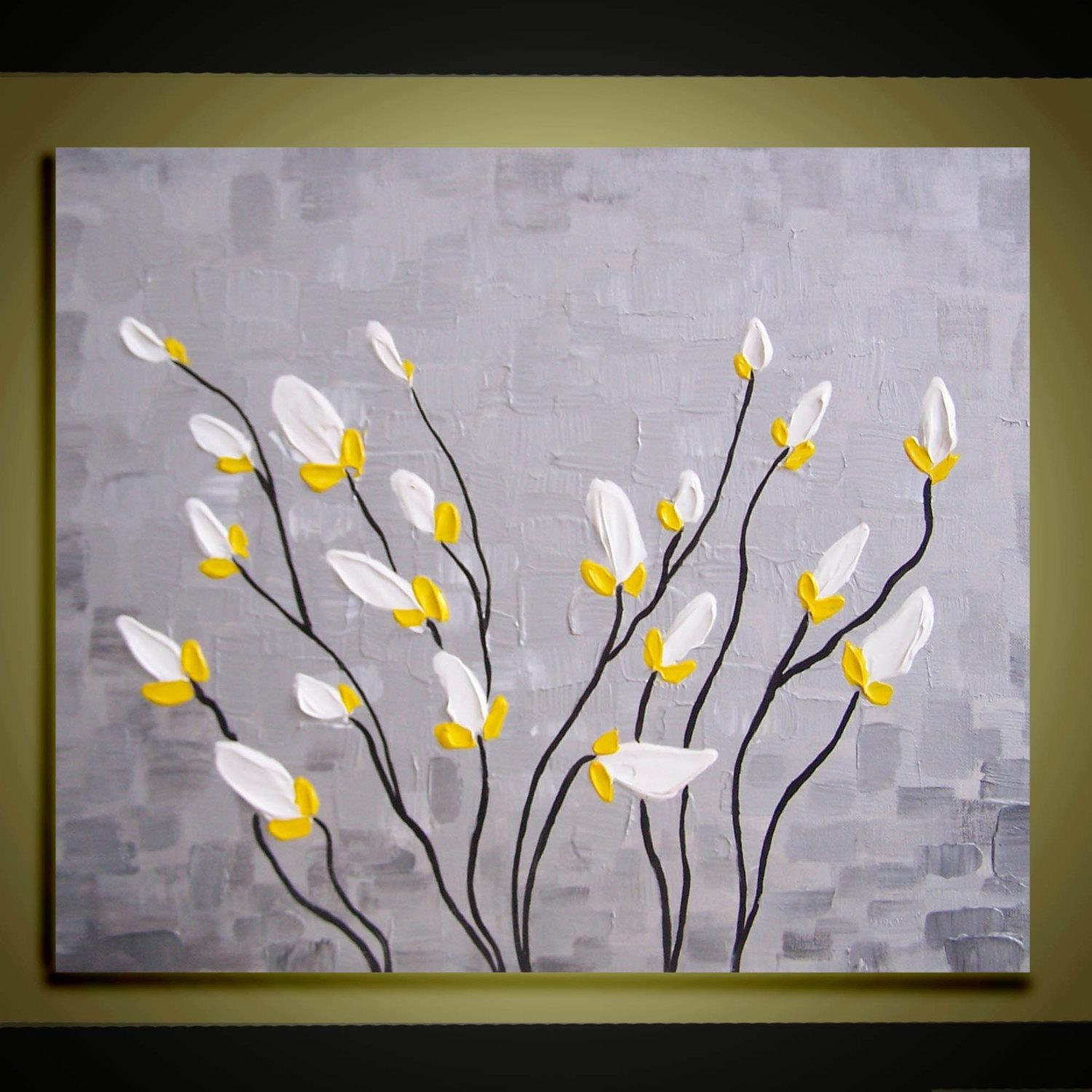 Abstract Oil Painting Contemporary White Flowers Landscape Etsy