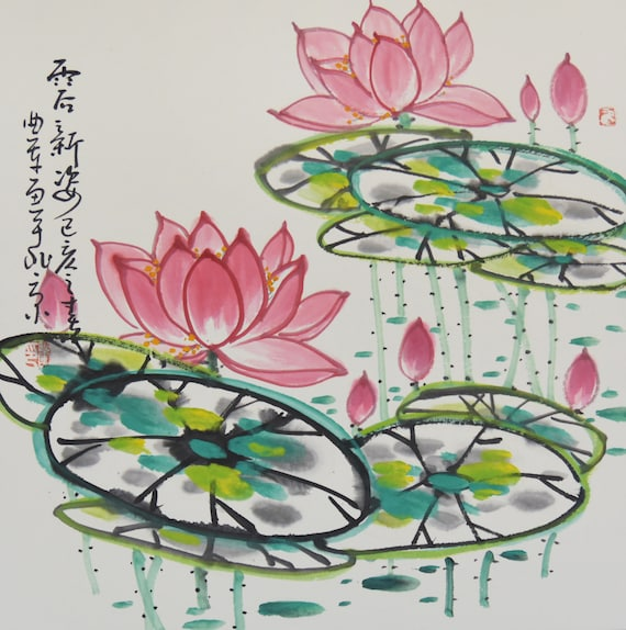 Lotus Painting Chinese Painting Original Painting Floral Etsy