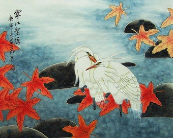 original painting chinese traditional art maple leaves  with two agrets