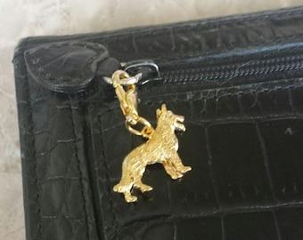 Gold German Shephard charm zipper pull, 3d, purse pull, stitch marker, progress keeper, clip on
