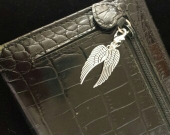 Angel wing zipper pull, purse pull , charm, jacket, wallet,purse, double, backpack pull, stitch marker, progress keeper, clip on