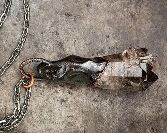 Raw Smoky Quartz Cluster + copper necklace   rough smokey quartz pendant   statement necklace   witchy handmade jewelry   OOAK by Uruz Metal