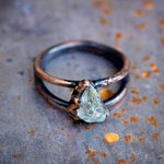 raw aquamarine + copper ring | March birthstone raw gemstone | natural raw stone | Aries Pisces | copper ring | made to order by Uruz Metals