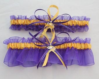 Football Vikings Wedding Garter Set Purple and Gold Flower Garter Set Bridal Garter Set Sports Team Garter Keepsake and Toss Garter Set