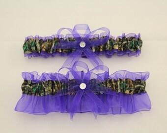 Purple and Camouflage Wedding Garter Set, Mossy Oak,  Camo Garter Set  (Your Choice, Single or Set)