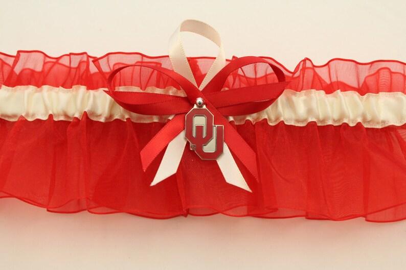 Your Choice, Single or Set Wedding Garter Set with University of Oklahoma Colors