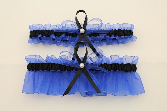Sheer Royal Blue and Black Wedding Garter Set Bridal Garter   Etsy
