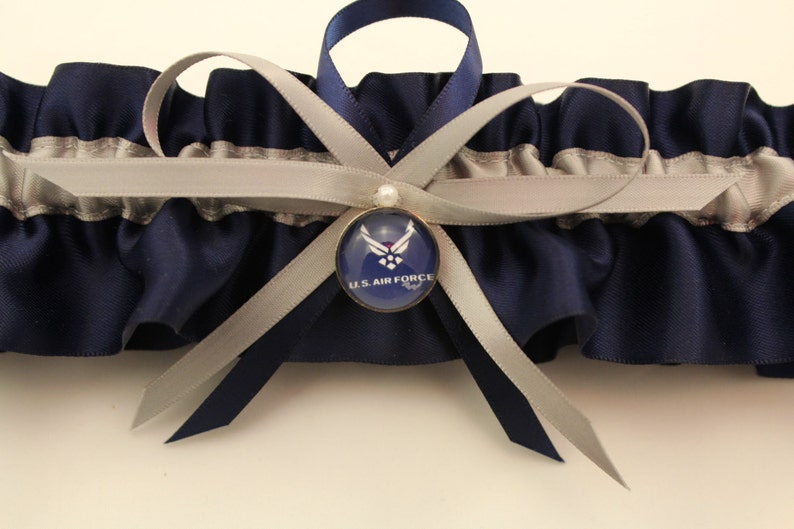Navy Blue Satin and Silver Wedding Garter Set with Air Force Deco Bridal Garter Prom Garter Your Choice, Single or Set