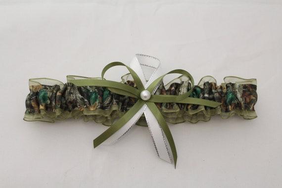 Moss Sage Green NEW White sheer bridal wedding garter
