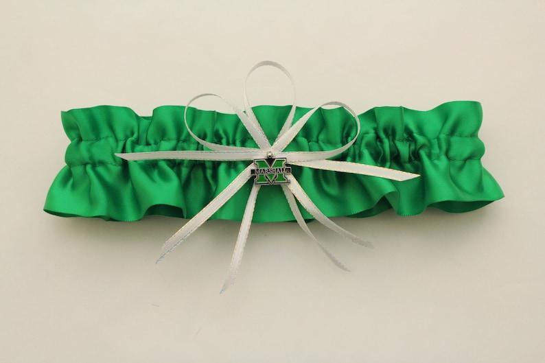Marshall University Themed Satin Wedding Garter Set Your Choice Single or Set Bridal Garter Prom Garter