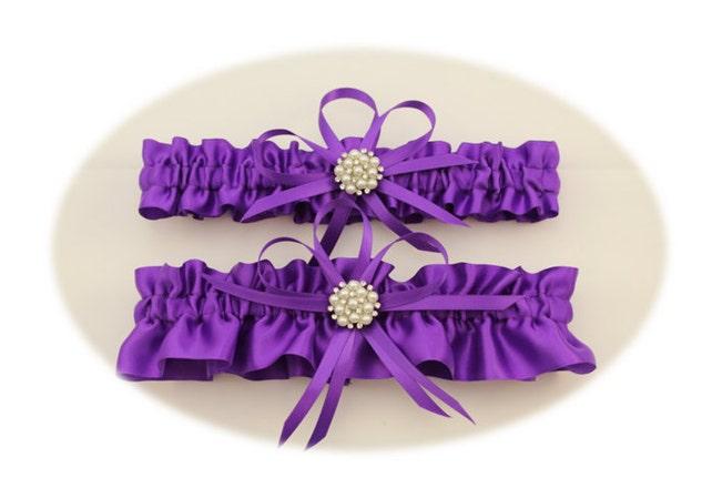 Purple Satin Wedding Garter Set with Charms, Bridal Garter Set, Bride, Wedding, Prom  (Your Choice, Single or Set)