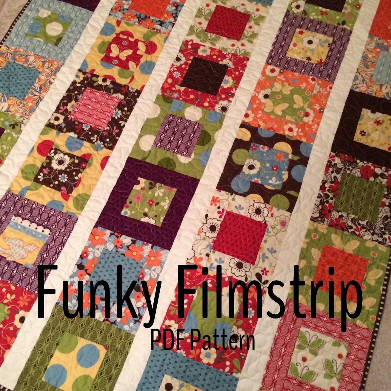 pattern funky filmstrip quilt multiple sizes pdf version. Black Bedroom Furniture Sets. Home Design Ideas
