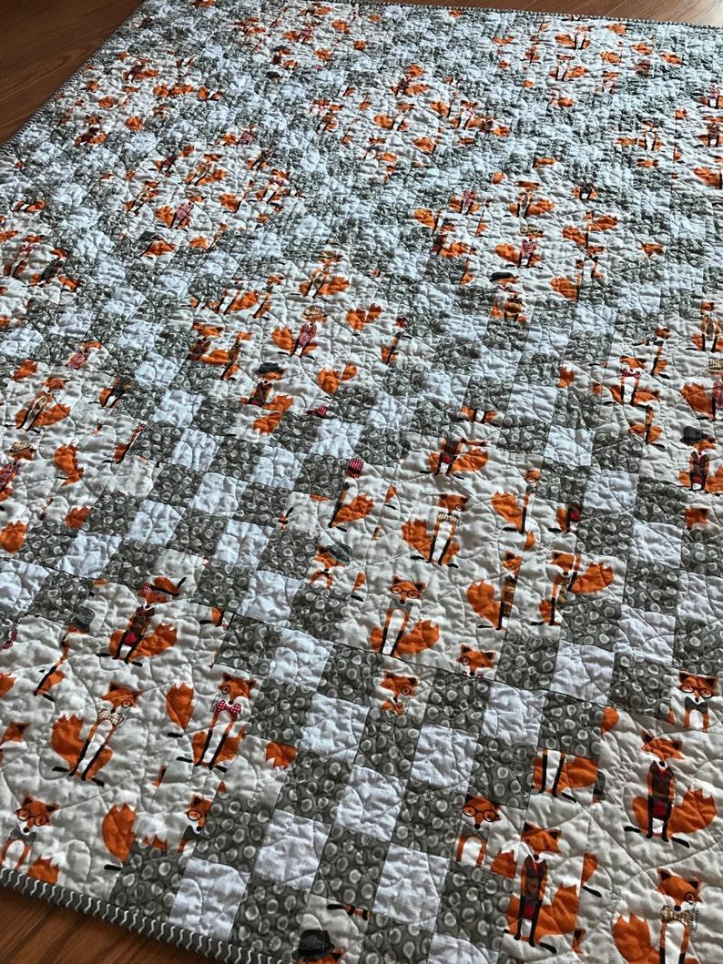 white grey orange Fox Baby Crib Quilt -Andie Hanna Fox and the Houndstooth-