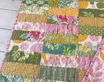 Nicey Jane Baby Crib Quilt -- pink, blue, yellow, green