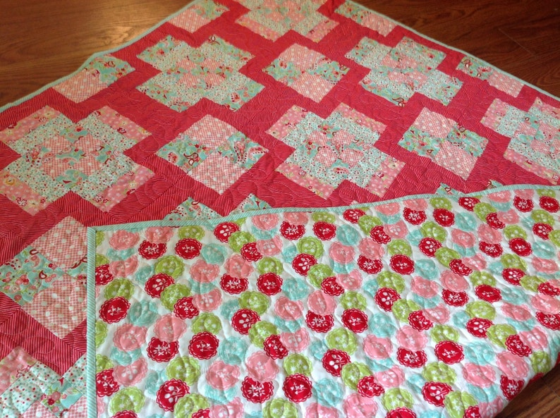 Aqua Red Scrumptious Baby Girl Quilt in Pink Blue