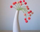 Coral Springs peaches n cream droopy pom pom flower arrangement - Peach pompoms - Felt flower bouquet.