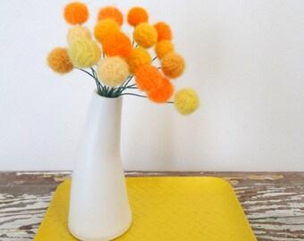 White Pottery Vase with Pom Pom Flowers. Yellow, Marigold Felt Flowers.  Modern Floral Centerpiece.  Curved Vase.  Craspedia, Billy Balls.