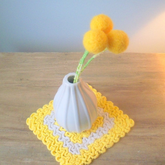 Yellow Felt Flowers Yellow Pom Pom Flowers Sunflowers Etsy