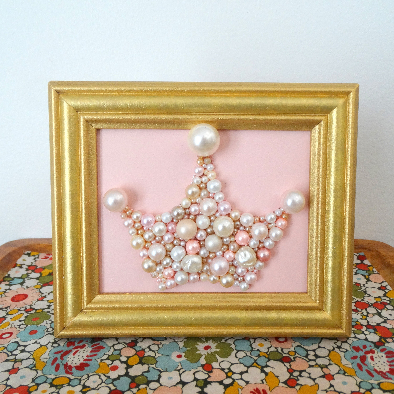 Pearl Princess Crown Pink And Gold Nursery Art Bead Etsy