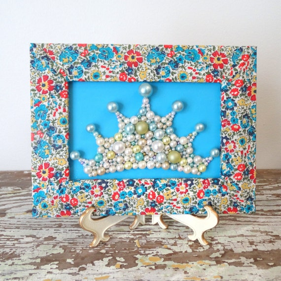Princess Crown , 3d Art , Decoupage Frame , Liberty of London Picture ,  Beaded Wall Hanging , Floral Framed Art , Turquoise Mosaic Wall