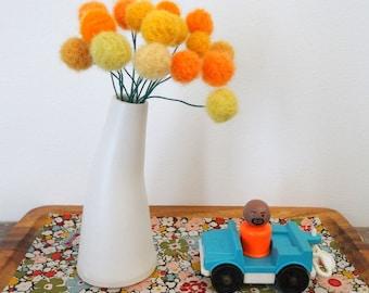 Wool Felt Pom Pom Flowers. Yellow, Marigold Felt Flowers.  Modern Floral Centerpiece.  Curved Vase.  Craspedia, Billy Balls.