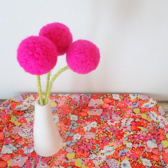Neon pink flowers hot pink polka dot pom poms big bright etsy image 0 mightylinksfo