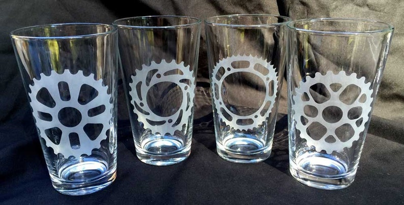 Bicycle gear pint glasses set of four 16 oz image 0