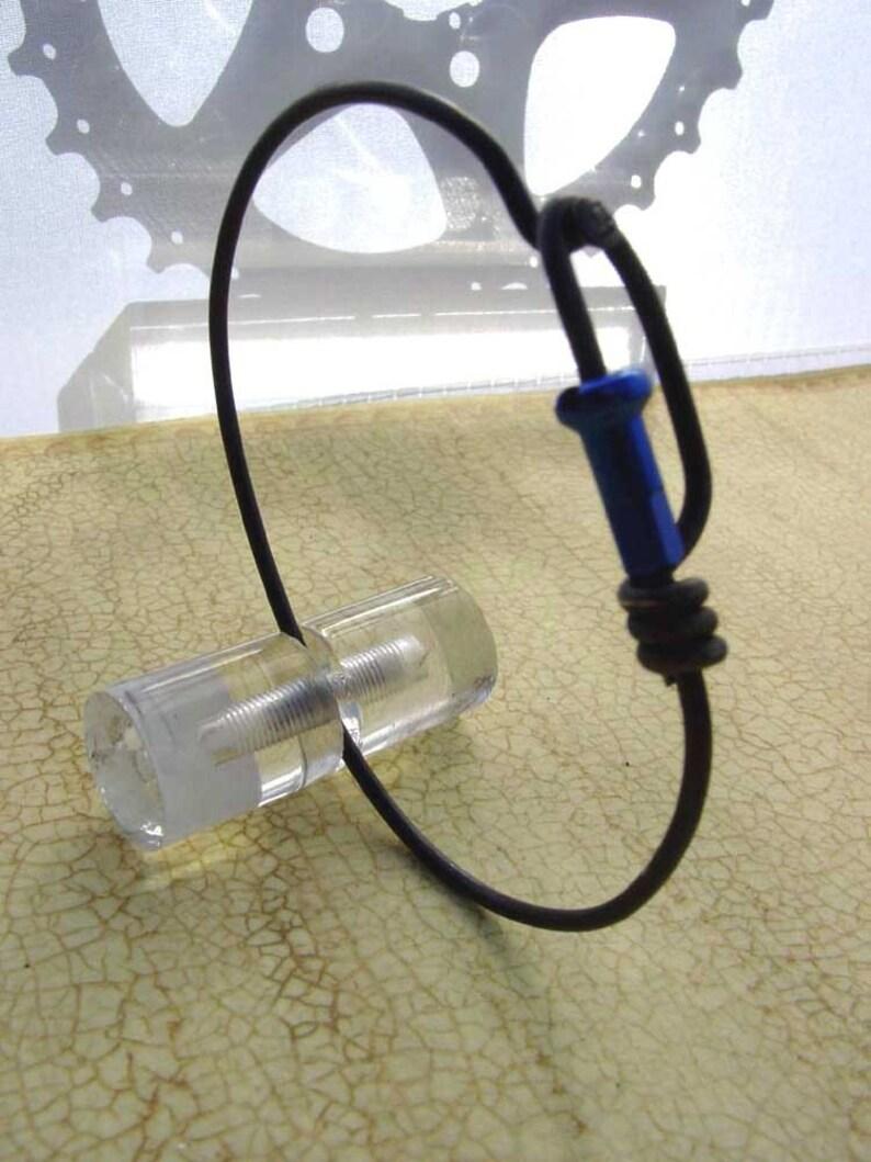 Bike spoke jewelry  Spoke bracelet with blue spoke nipple image 0