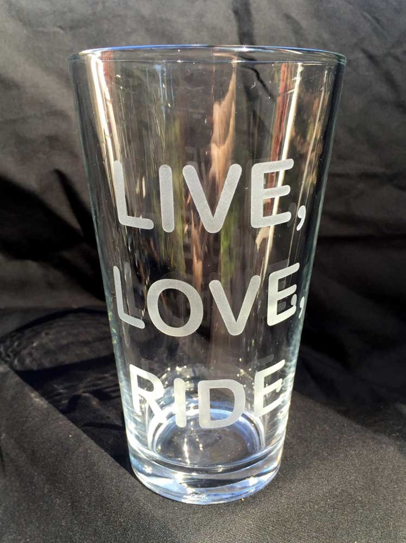 Live Love Ride pint glass 16 oz image 0