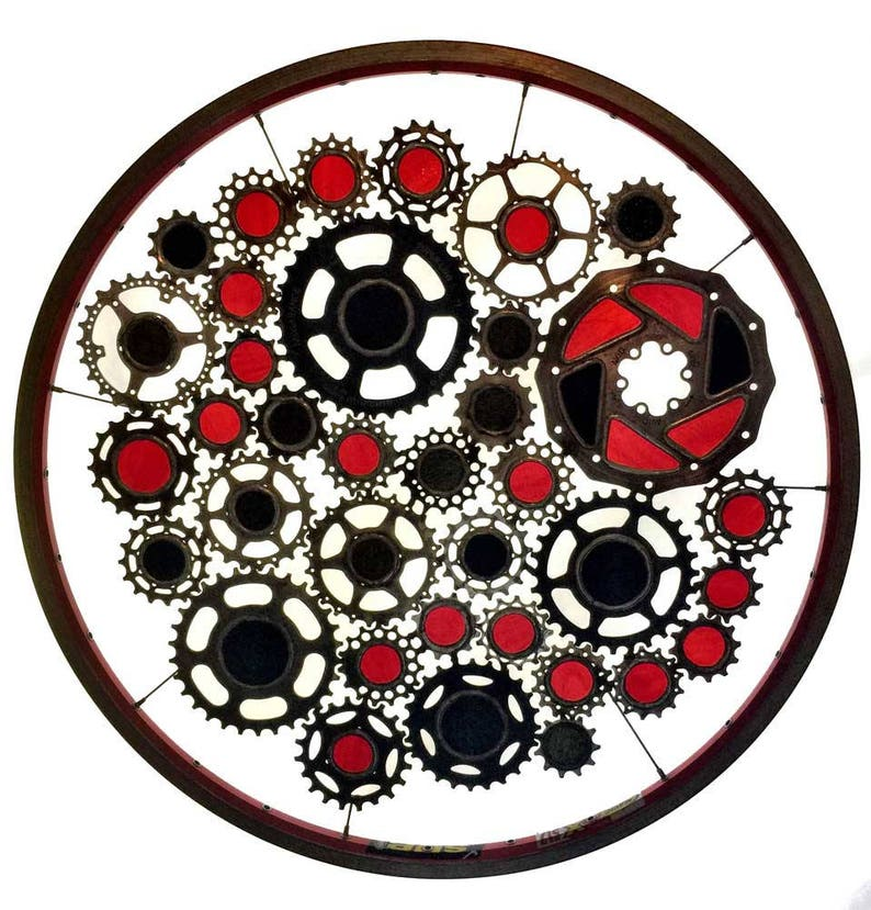 Stained glass bicycle wheel called Black Hole Sun  recycled image 0