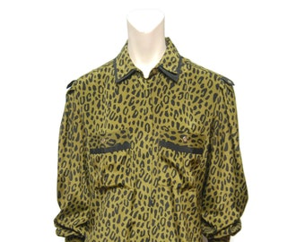 Vintage Blouse Size 7/8 1980's Shirt Military Style Shirt Army Green Top Leopard Print Blouse Button Down Shirt 80's Retro Patterned Shirt