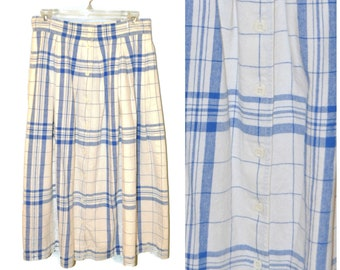 Vintage 1990's White and Blue Plaid Midi Skirt Button Front Skirt Size 12 Cotton High Waisted A-Line Skirt Preppy Retro Casual Skirt