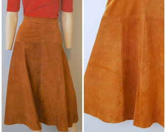 f4bf42cd0f Vintage 1970's Brown Suede Leather Midi Skirt A-Line Firenze Santa Barbara  for Sax Fifth Avenue High Waist Size Large Skirt with Yoke