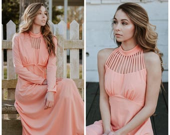 Vintage Coral Peach Maxi Dress Formal Full Length Dress with Shrug Jacket Long Sleeve Sleeveless High Neck 1960's Prom Retro Open Back