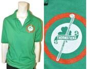 Vintage 1980 39 s Green Polo Shirt Irish quot Thornsticks quot Shamrock Design Short Sleeve Shirt by Anvil Size Medium Kelly Green Ireland Golf Shirt