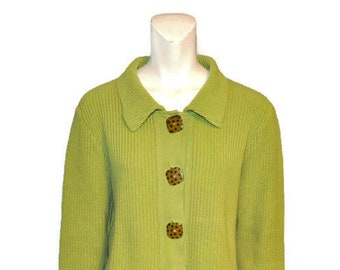 Vintage 1990's Green Button Front Cardigan with Polkadot Buttons Chartreuse Heavy Chunky Sweater with Collar by Willow Ribbed Shirt