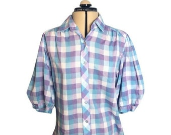 Vintage 1980's Puff Sleeve Plaid Button Down Shirt Balloon Sleeve Blue Purple Pattern Collared Blouse Size 12/14 by Cheryl Tiegs